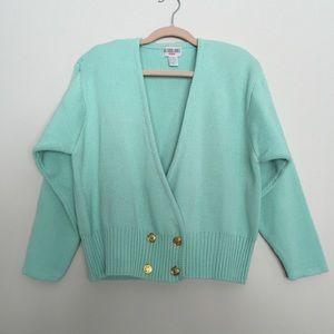 1980's Mint Green Cardigan Sweater